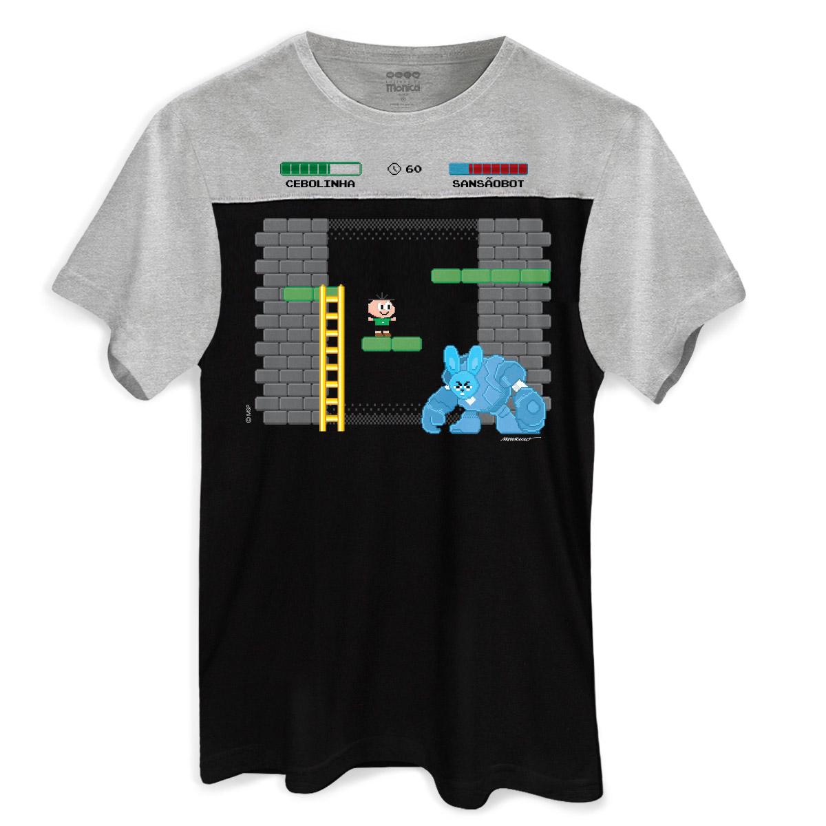 8cdbce95e8 Camiseta Masculina Bicolor Turma da Mônica Cebolinha SansãoBot