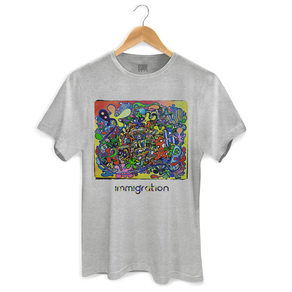 Camiseta Masculina Bruna Immigration Gray