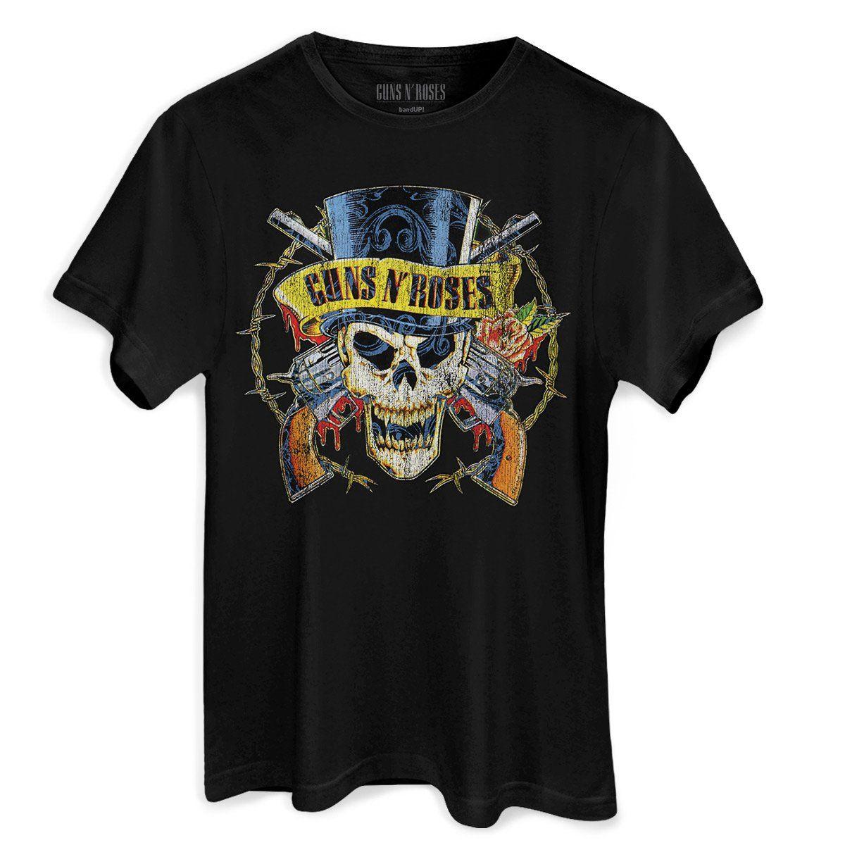 Camiseta Masculina Guns N´ Roses Logo Skull