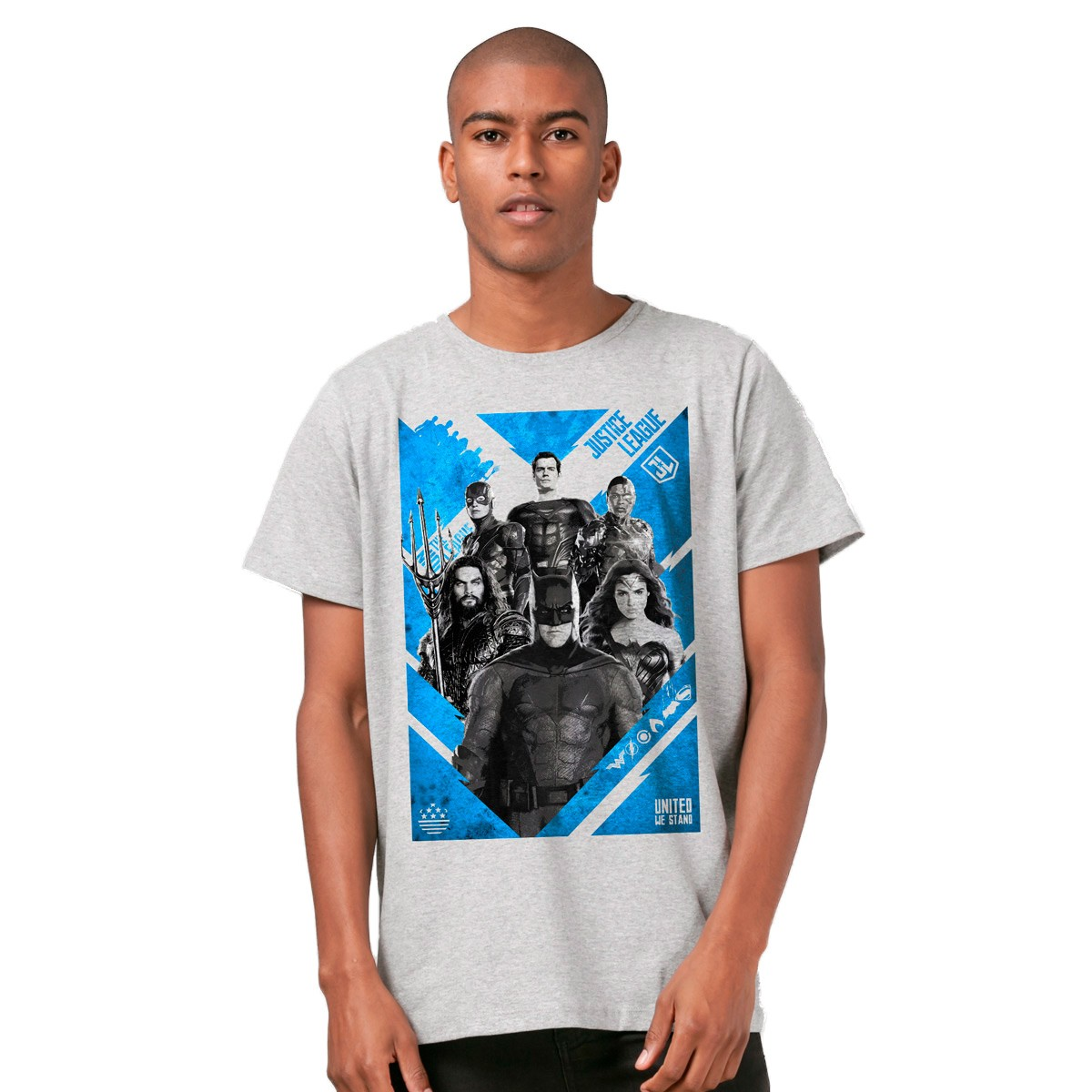 Camiseta Masculina Liga da Justiça United to Stand