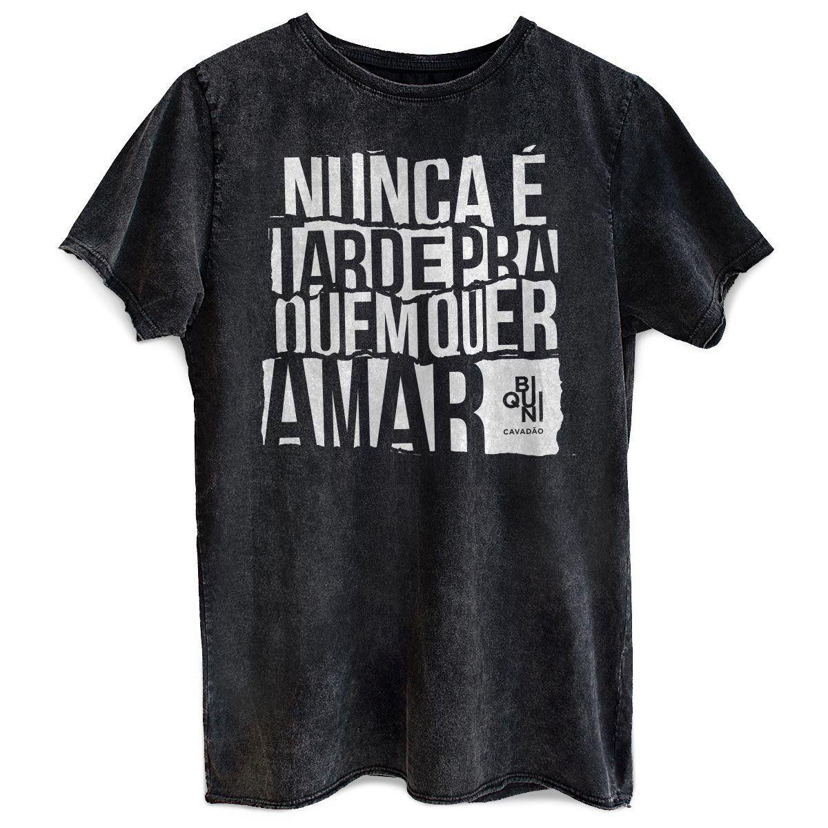Camiseta Masculina Marmorizada Biquini Cavadão Nunca é Tarde
