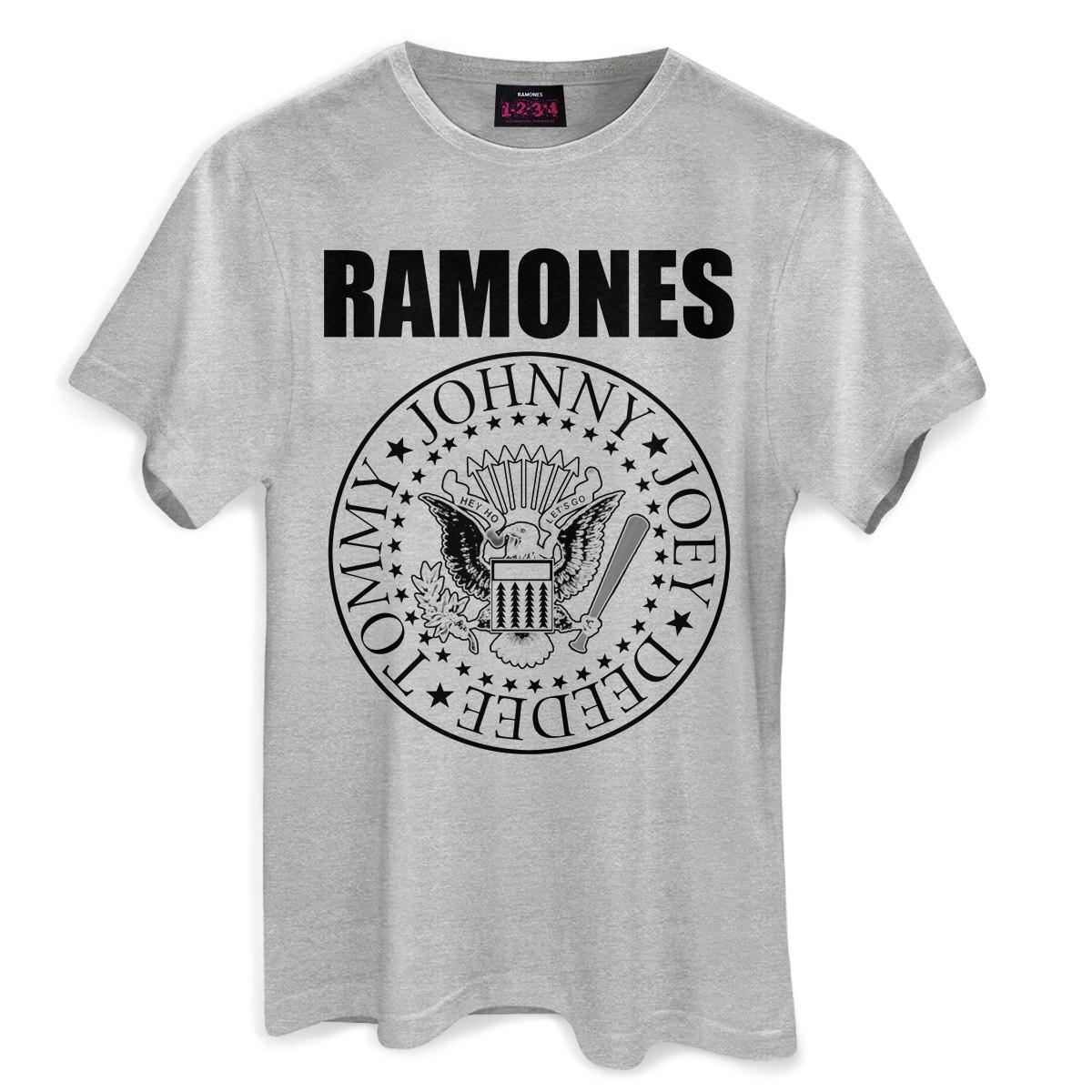 Camiseta Masculina Mescla Ramones Logo