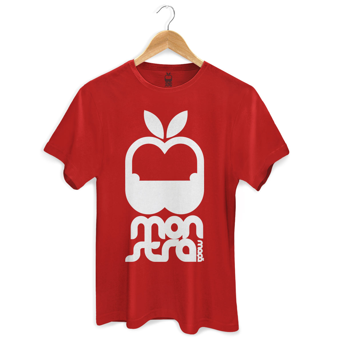 Camiseta Masculina Monstra Maçã Logo Red