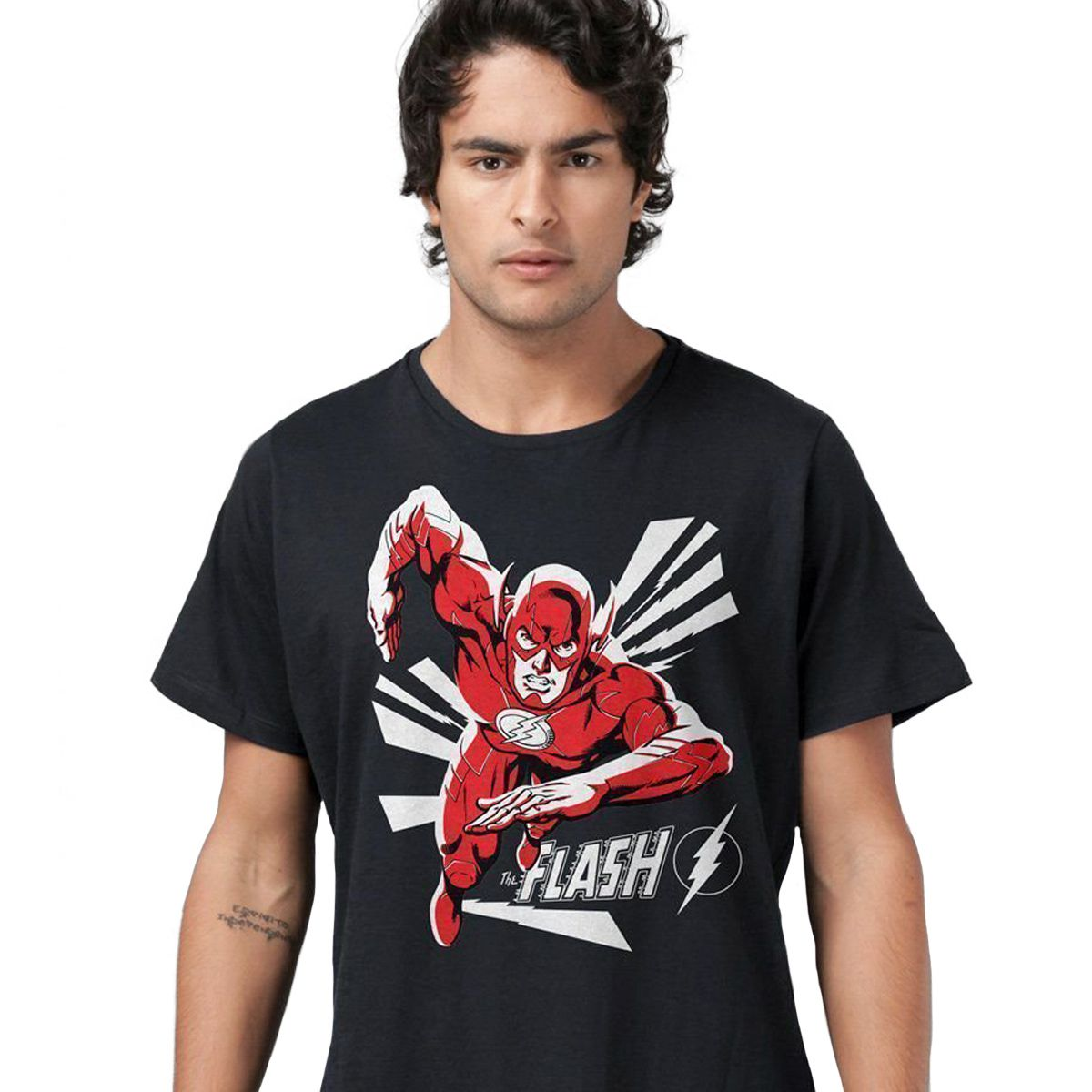 Camiseta Masculina The Flash In Action Black