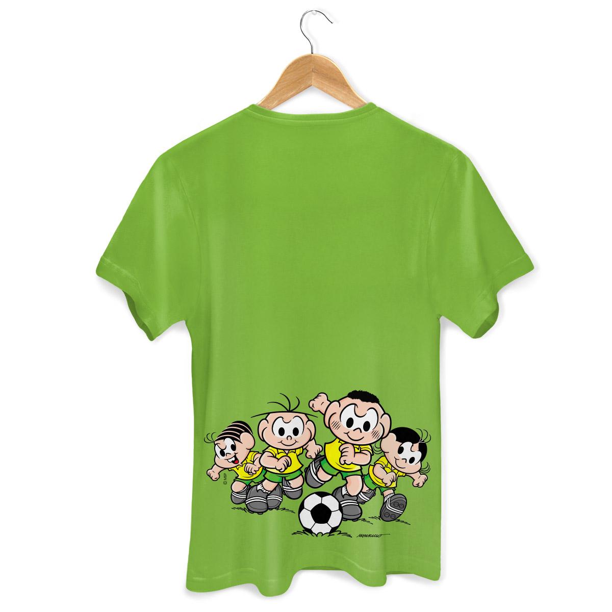 Camiseta Masculina Turma da Mônica Brasão Mônica e Cebolinha