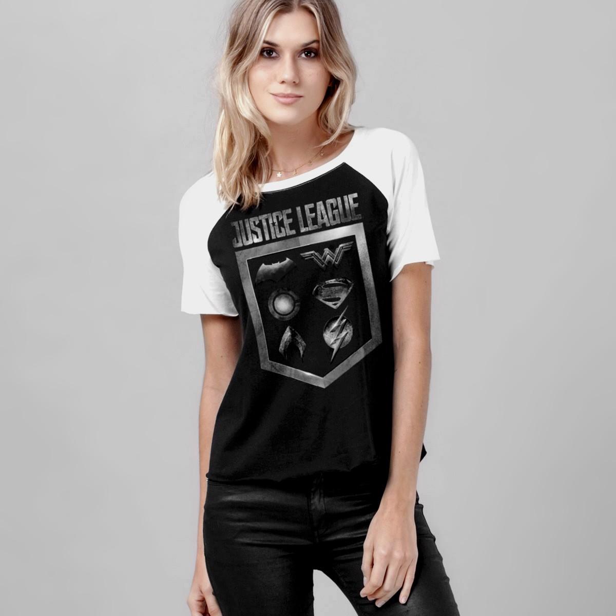 Camiseta Raglan Feminina Liga da Justiça Icons