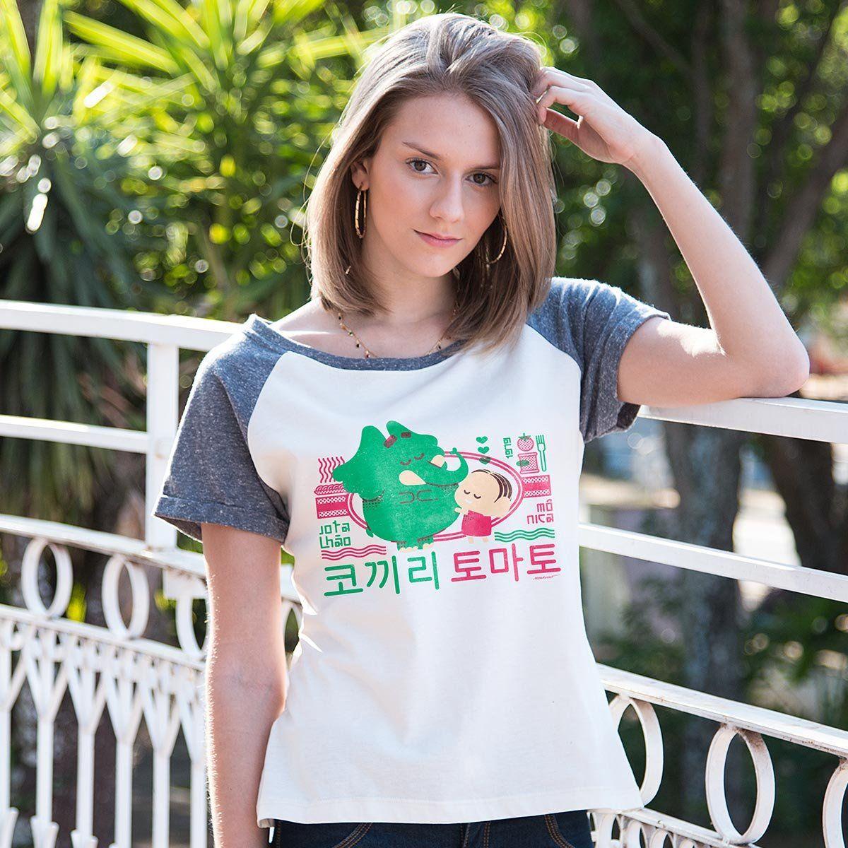 Camiseta Raglan Feminina Mônica e Jotalhão