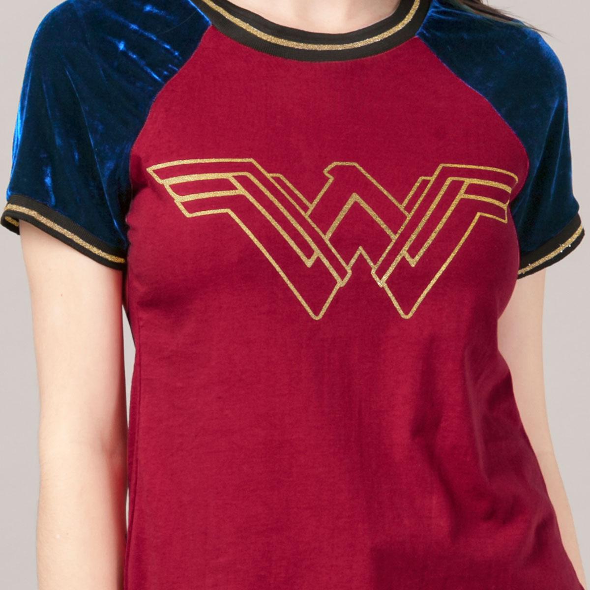 Camiseta Raglan Feminina Mulher Maravilha Logo Foil