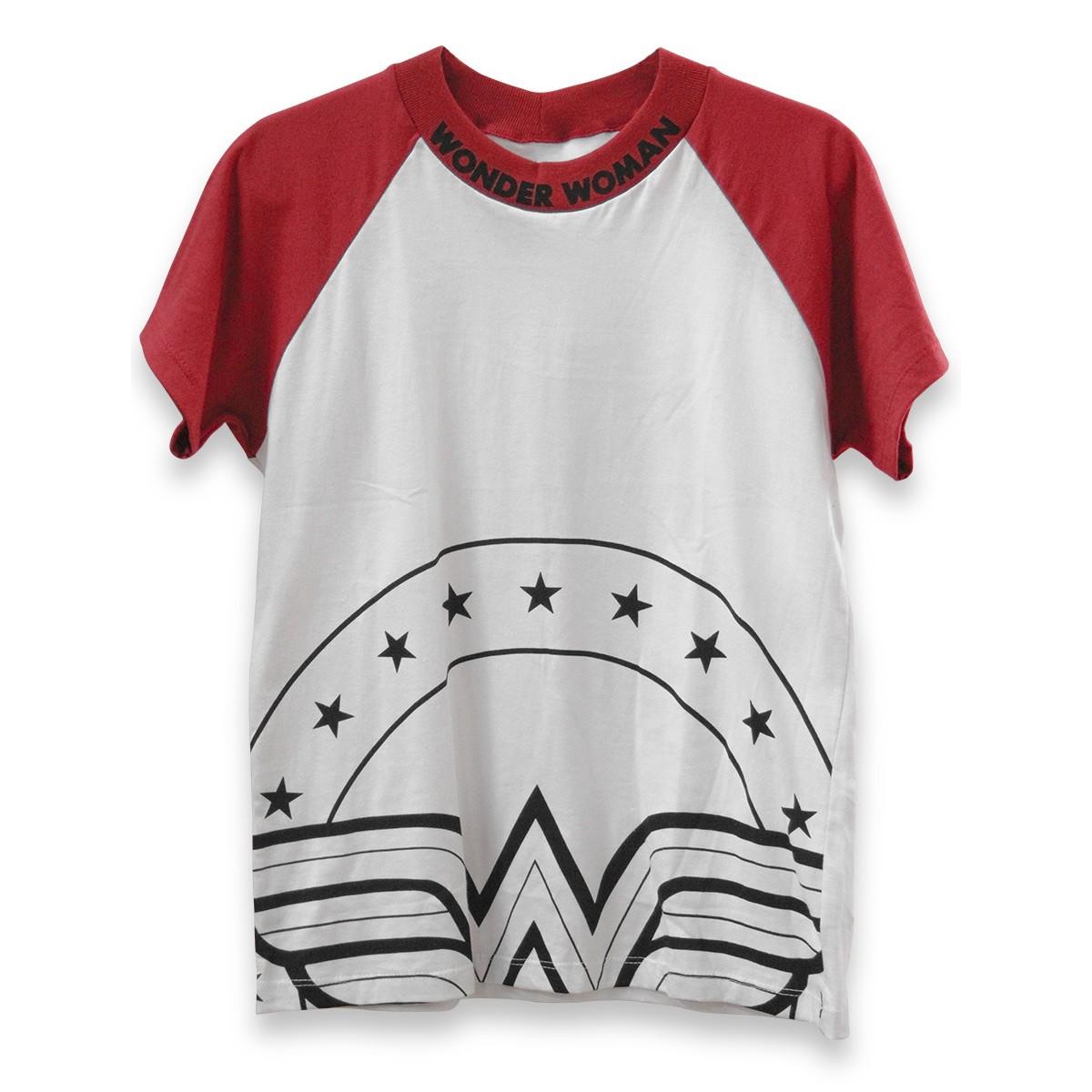 Camiseta Raglan Feminina Mulher Maravilha Retrô Red