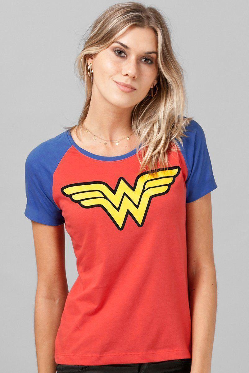 Camiseta Raglan Feminina Wonder Woman Logo