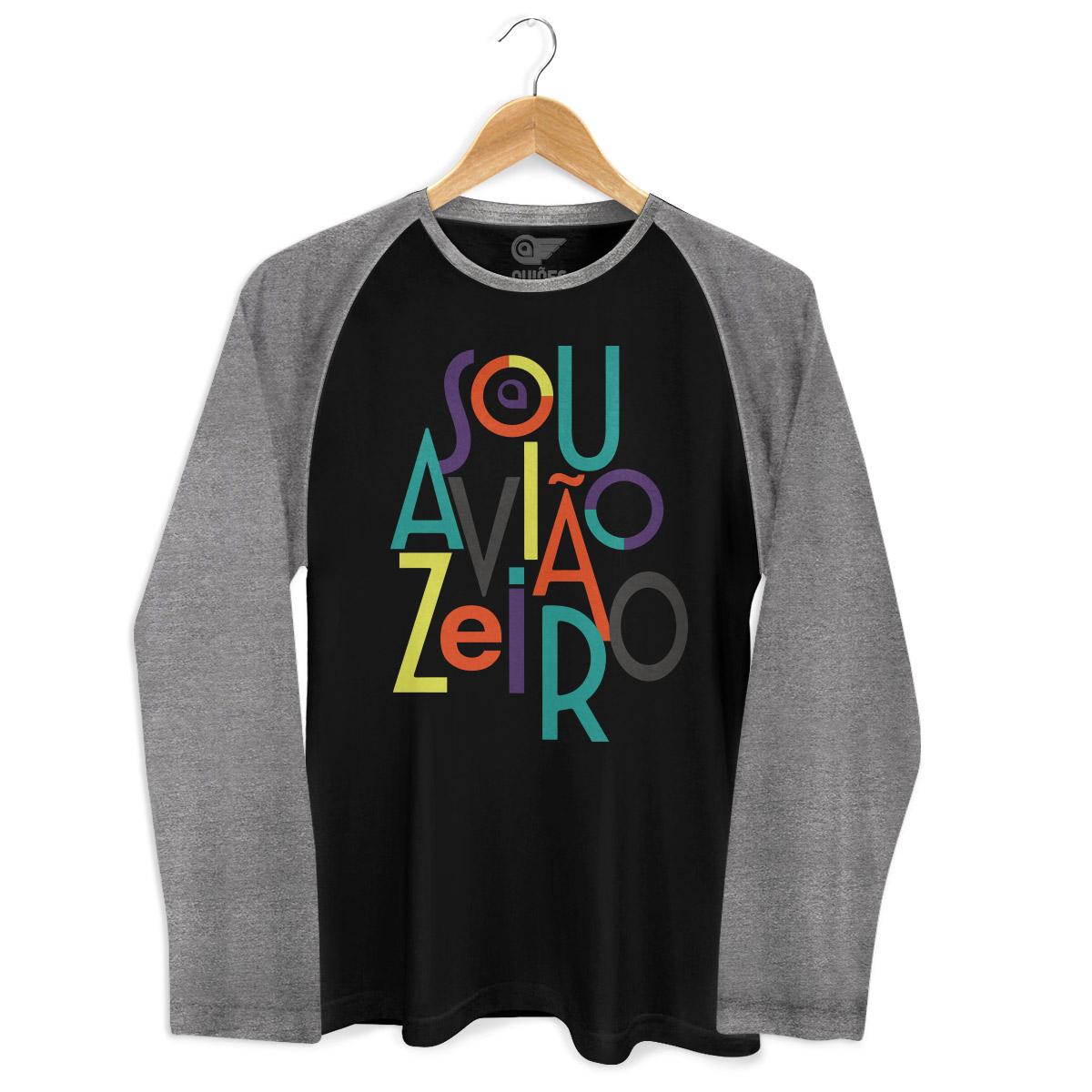 Camiseta Raglan Masculina Aviões do Forró Sou Aviãozeiro