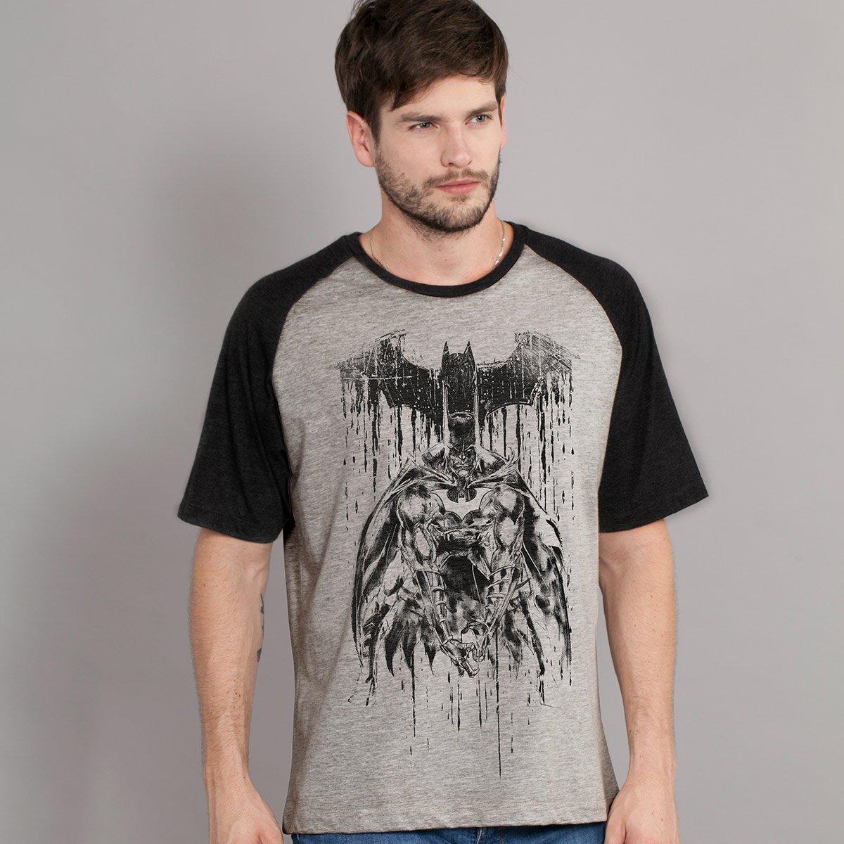 Camiseta Raglan Masculina Batman Melting Sketch