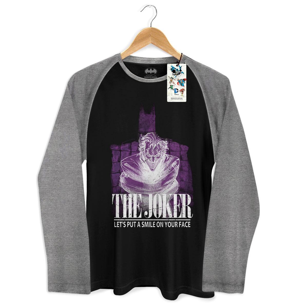 Camiseta Raglan Masculina The Joker Let´s Put A Smile On Your Face