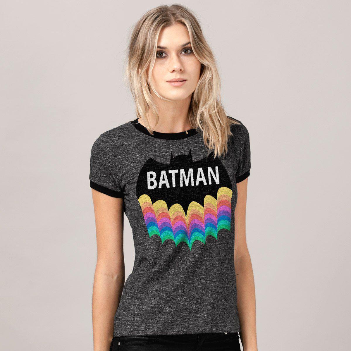 Camiseta Ringer Feminina Batman Rainbow