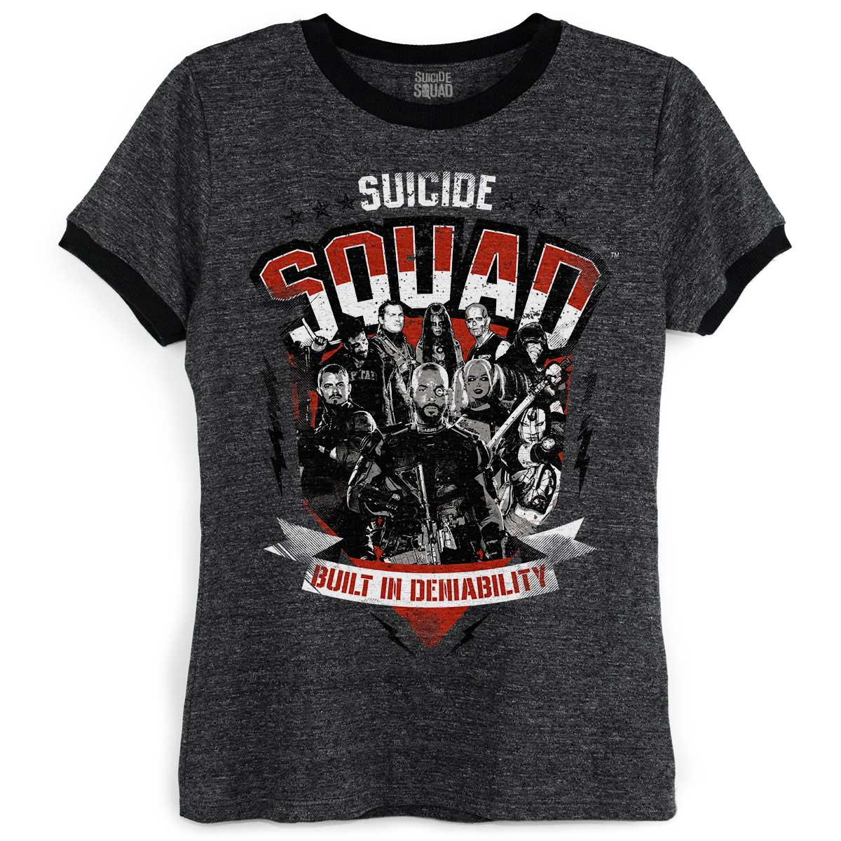Camiseta Ringer Feminina Esquadrão Suicida Built in Deniability
