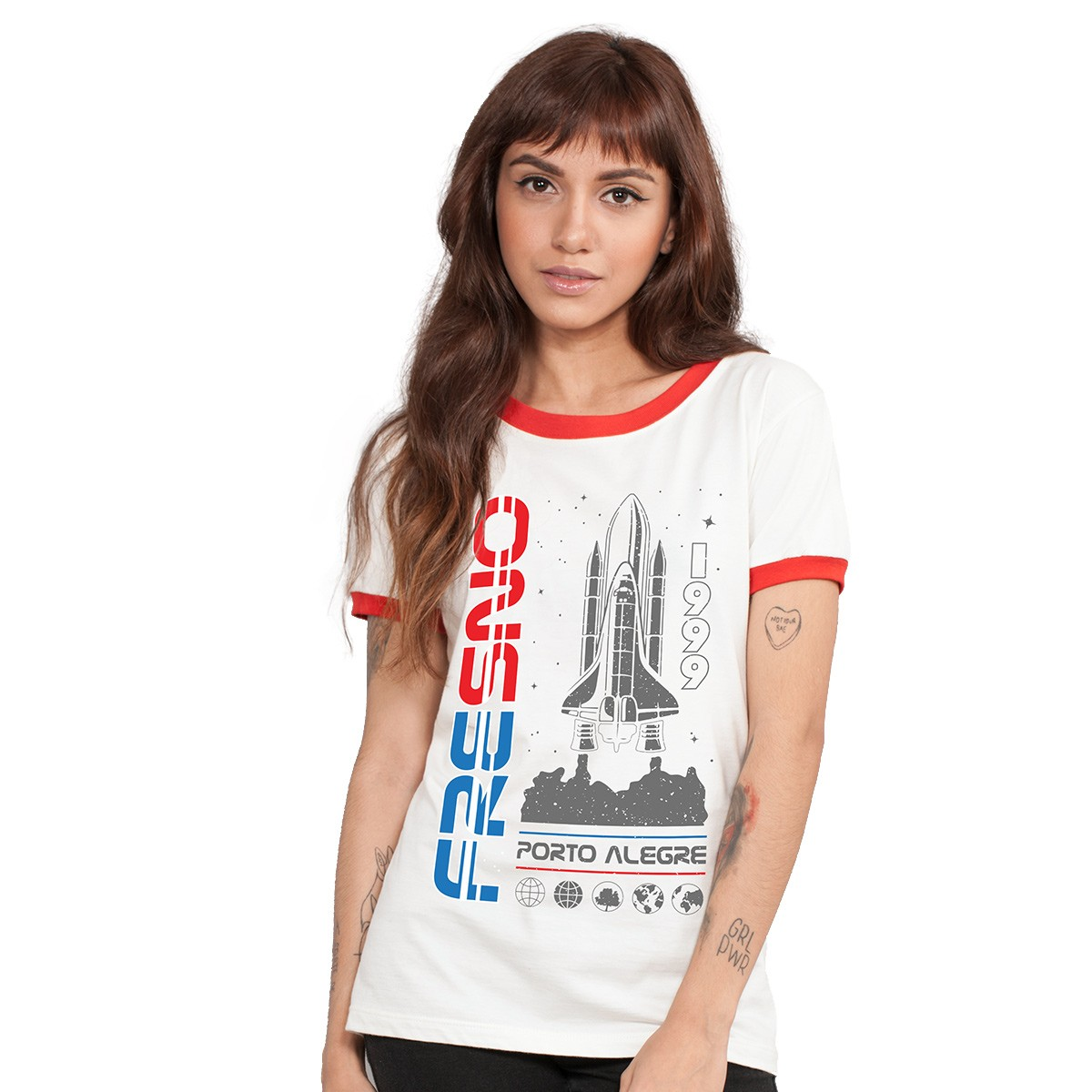 Camiseta Ringer Feminina Fresno Launch Rocket
