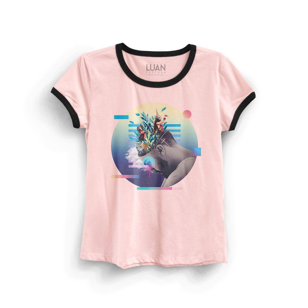 Camiseta Ringer Feminina Luan Santana Check-In