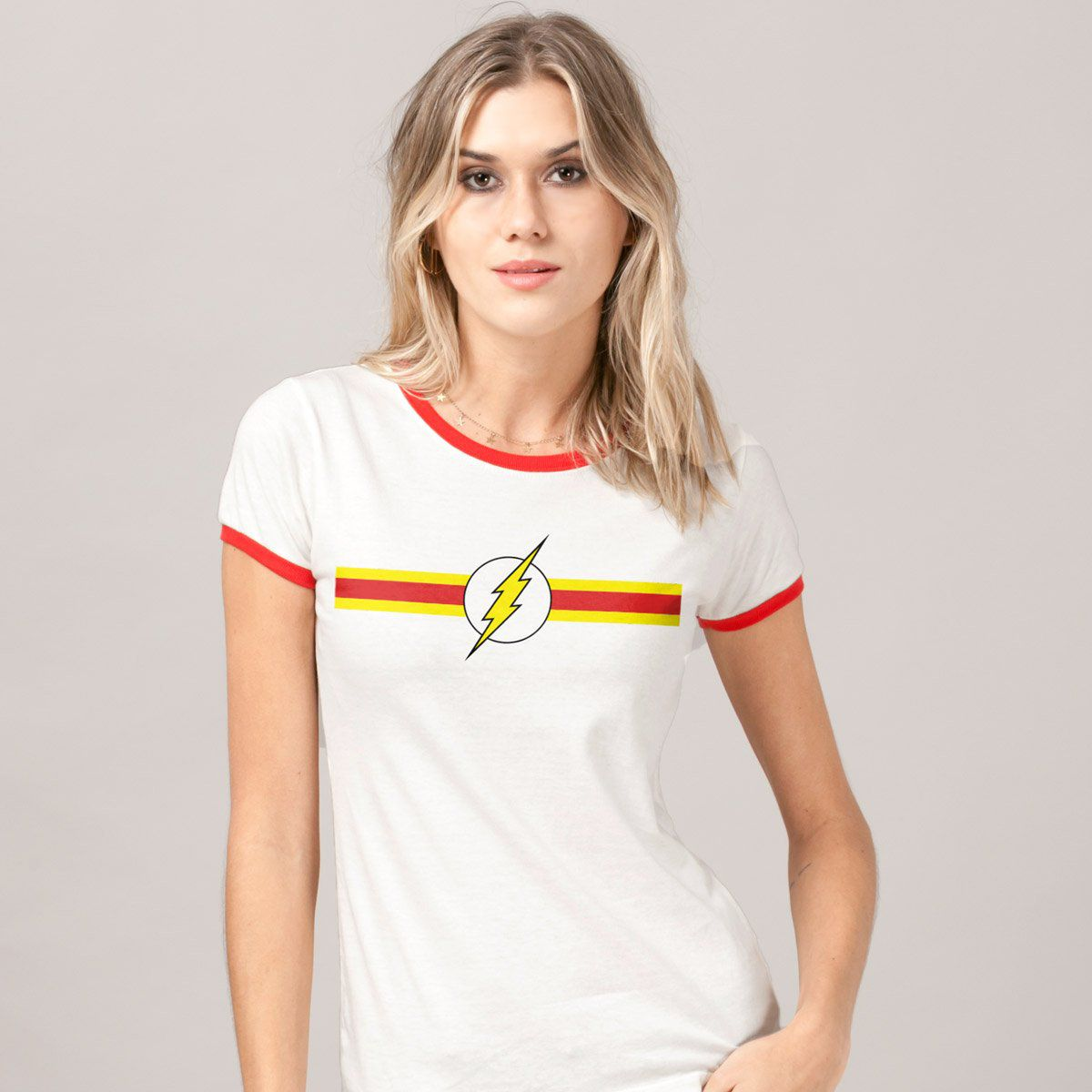 a16782916e Camiseta Ringer Feminina The Flash Stripes