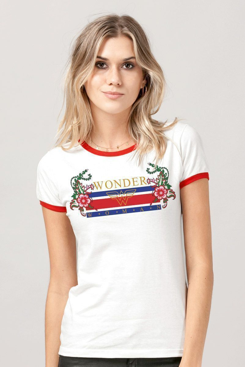 Camiseta Ringer Feminina Wonder Woman Stripes