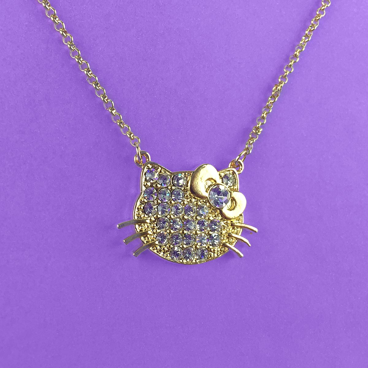 Colar Ouro Hello Kitty Strass