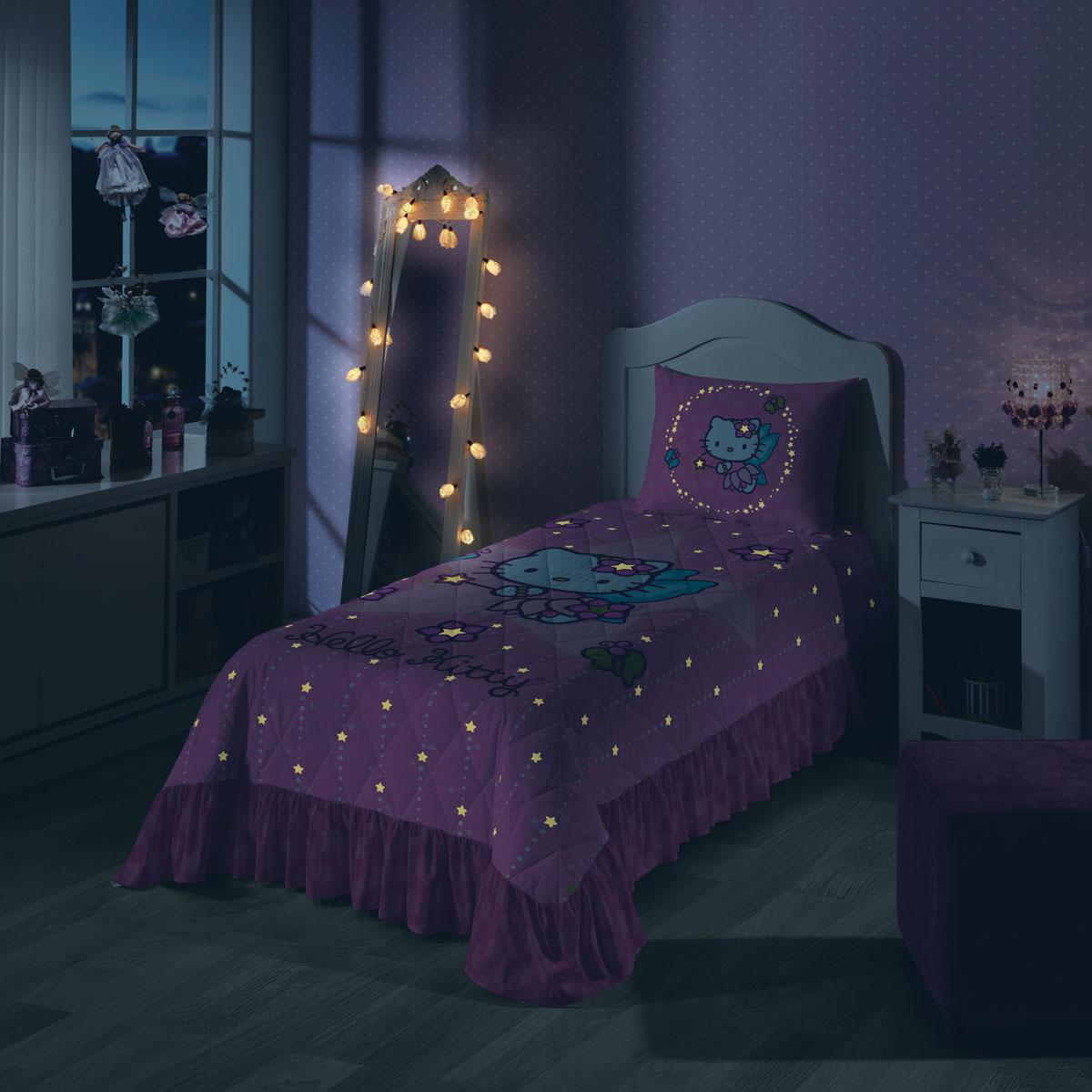 Colcha que Brilha no Escuro Hello Kitty Fada