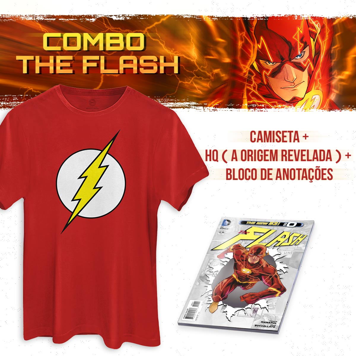 Combo Masculino The Flash Camiseta + HQ A Origem Revelada