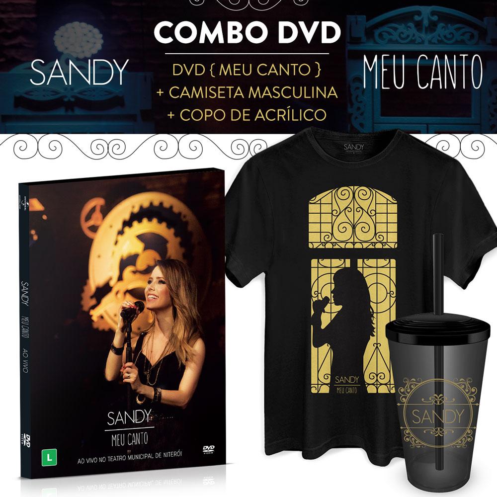 Combo Sandy DVD Meu Canto + Camiseta Masculina + Copo