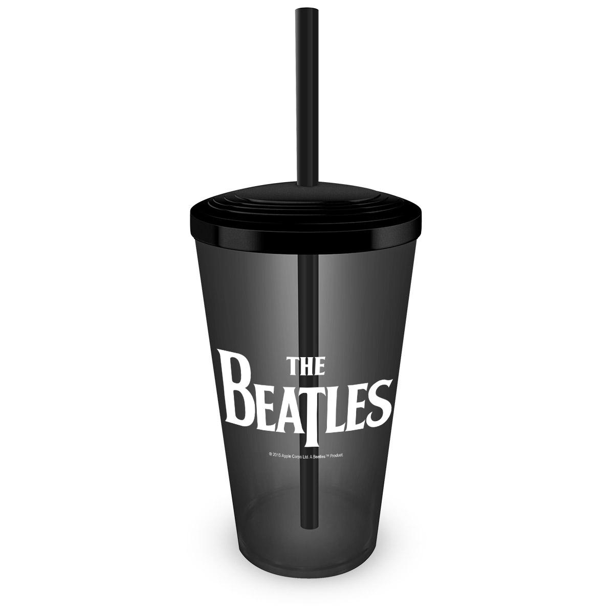 Copo Acrílico com Canudo The Beatles Logo