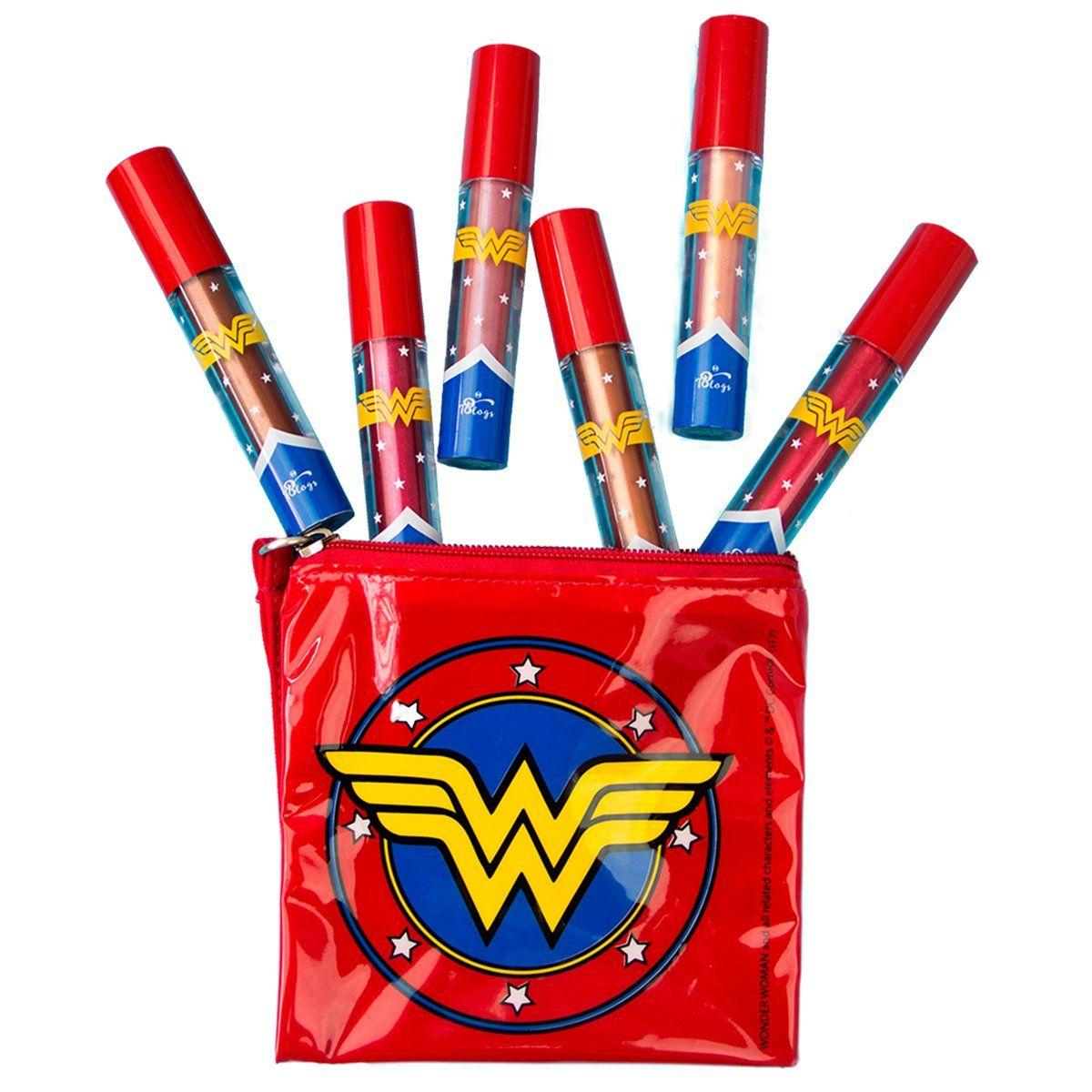 Kit Batons Mulher Maravilha Metal Power 6 cores + necessaire brinde