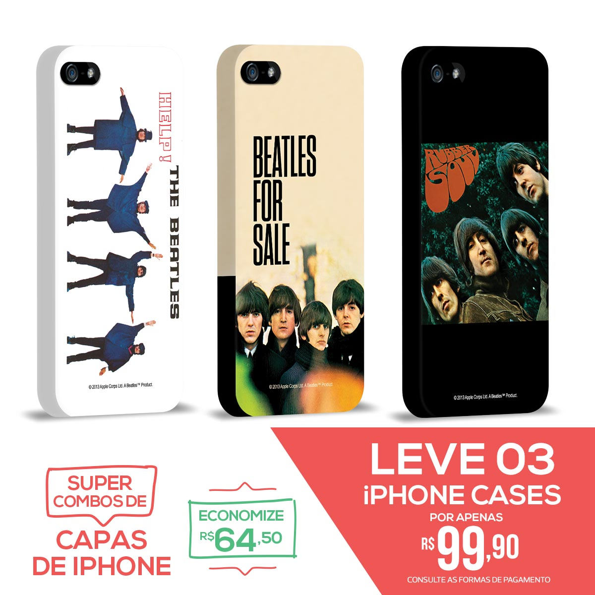 Kit Com 3 Capas de iPhone 5/5S The Beatles Albums 60s 2