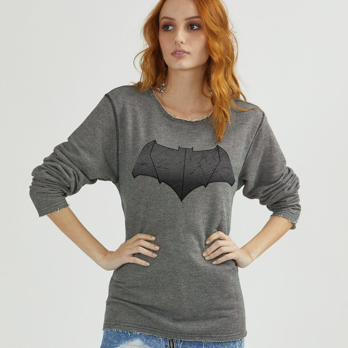 Moletinho Texturizado Feminino Batman Shield