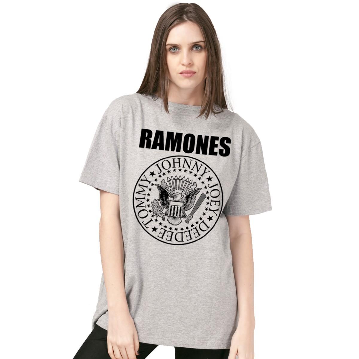 T-Shirt Feminina Mescla Ramones Logo