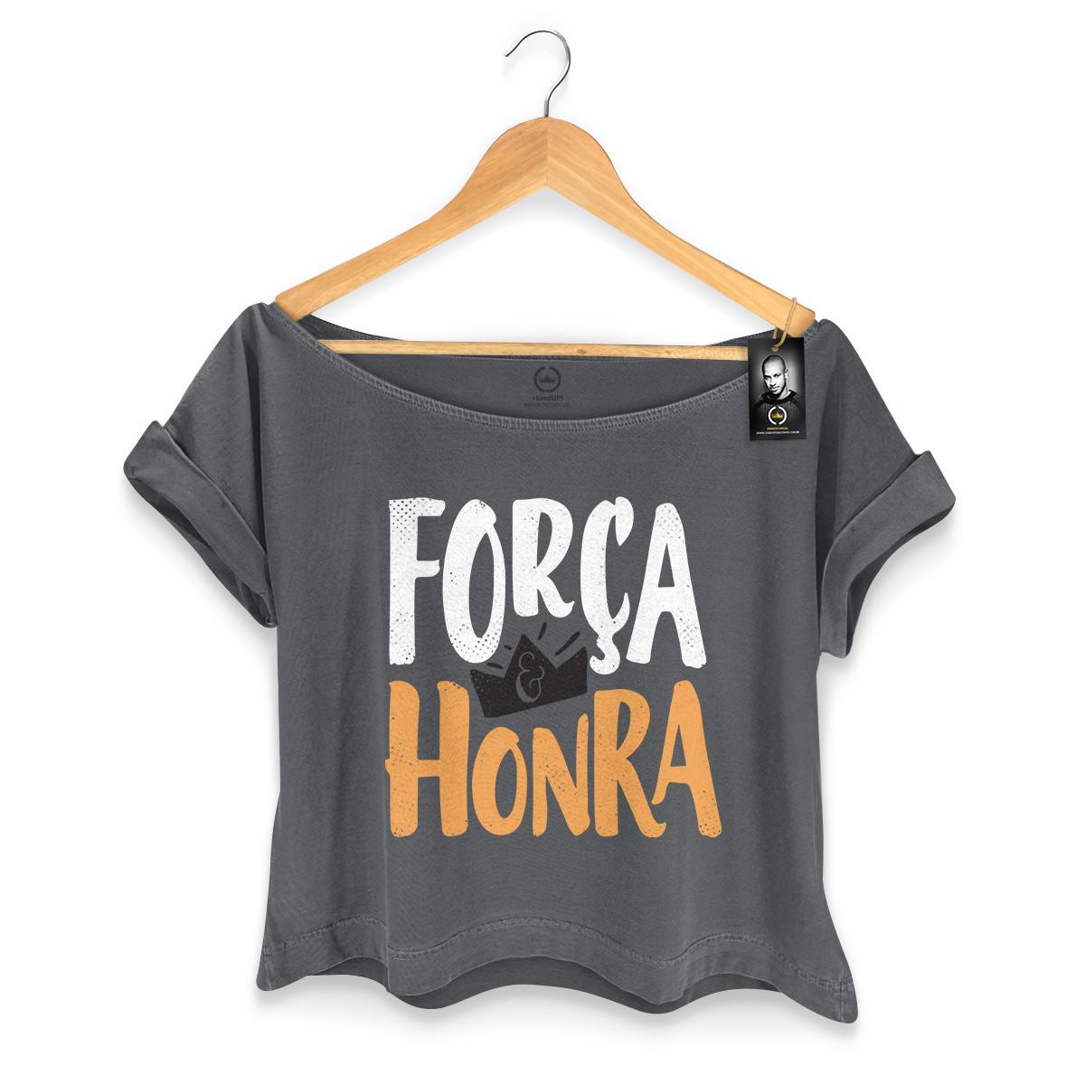 T-shirt Premium Feminina Thiaguinho Força e Honra Black