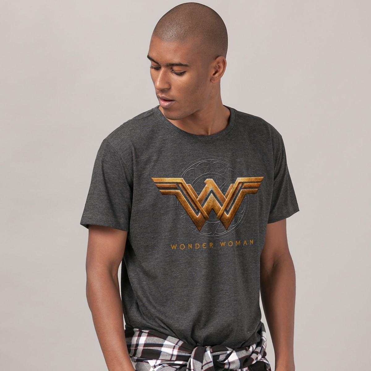 T-shirt Premium Masculina Mulher Maravilha Logo Filme