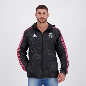 Adidas Real Madrid Black Windbreaker Jacket