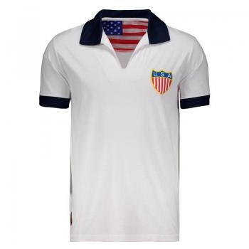 USA Retro White Polo Shirt