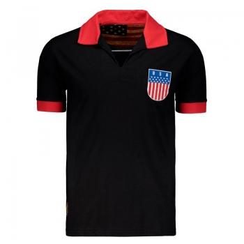 USA Retro Black Polo Shirt