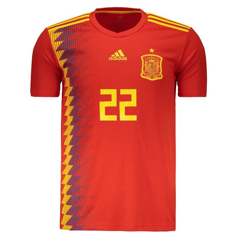Adidas Spain Home 2018 Jersey 22 Isco