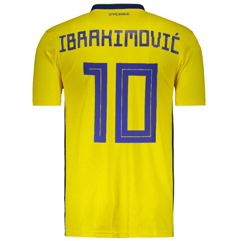 finest selection 5a280 3b649 Adidas Sweden Home 2018 Jersey 10 Ibrahimovic