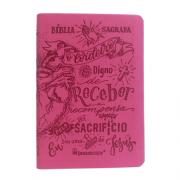 Bíblia Lettering Luxo Rosa - NAA - Capa Flexível