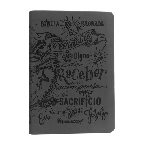 Bíblia Lettering Luxo Chumbo - NAA - Capa Flexível  - JesusCopy
