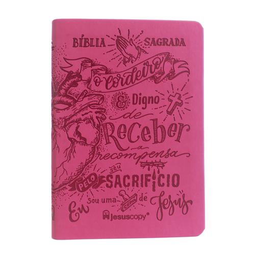 Bíblia Lettering Luxo Rosa - NAA - Capa Flexível  - JesusCopy