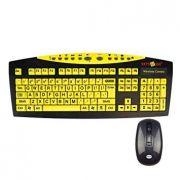 Teclado sem Fio com Mouse Teclas Amarelas Letras Pretas
