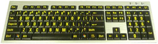 Teclado para Baixa Visão Slim teclas pretas letras amarelas