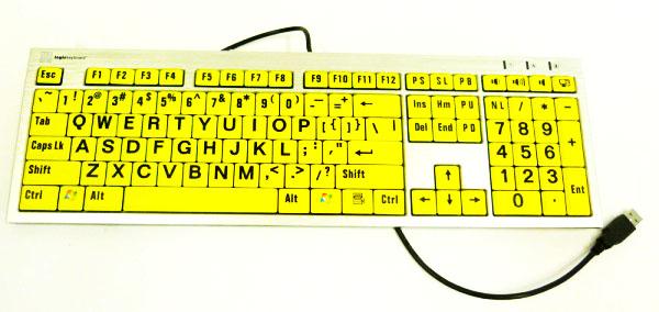 Teclado para Baixa Visão Slim Teclas Amarelas Letras Pretas