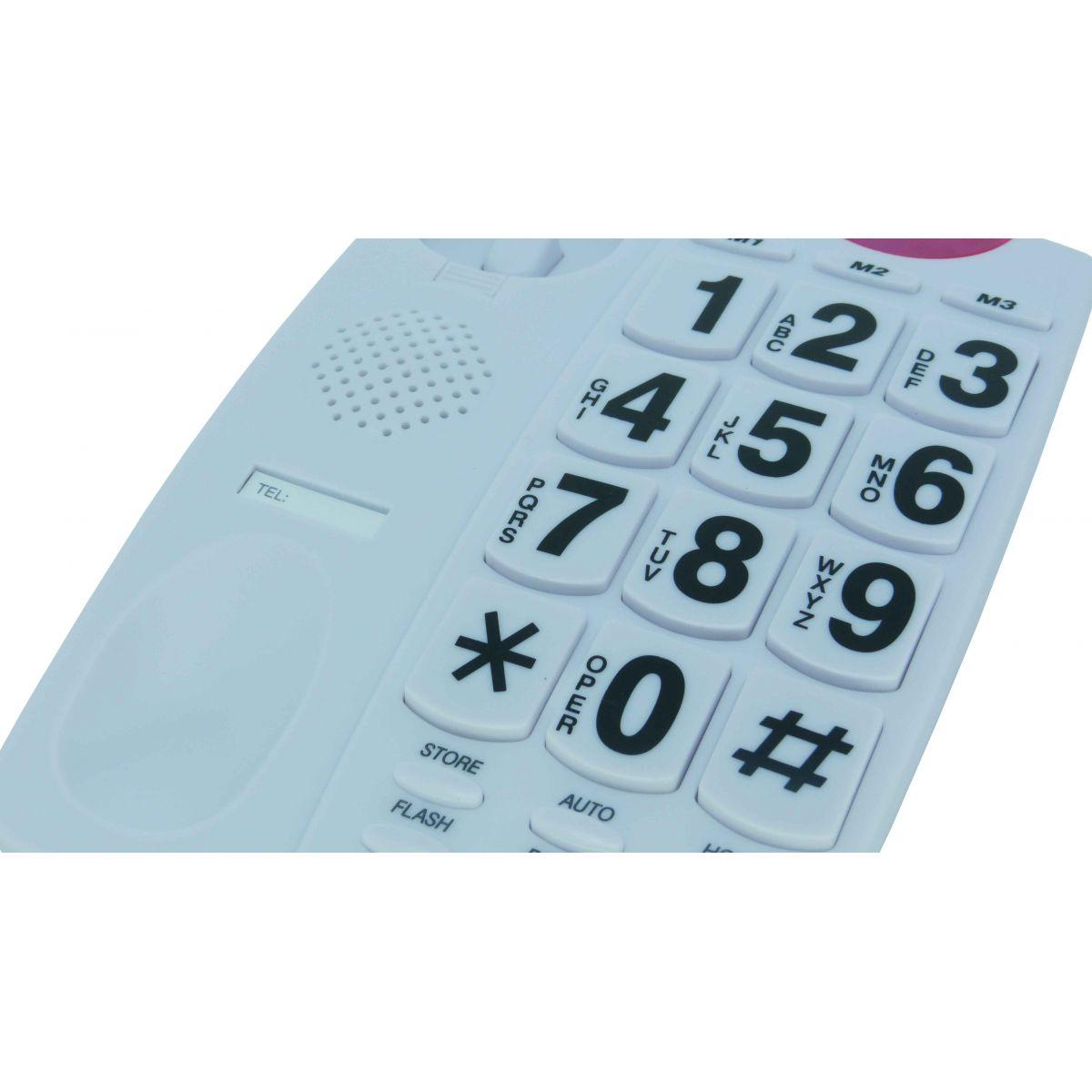 Telefone com Teclas Gigantes e Luz Piscante de Toque