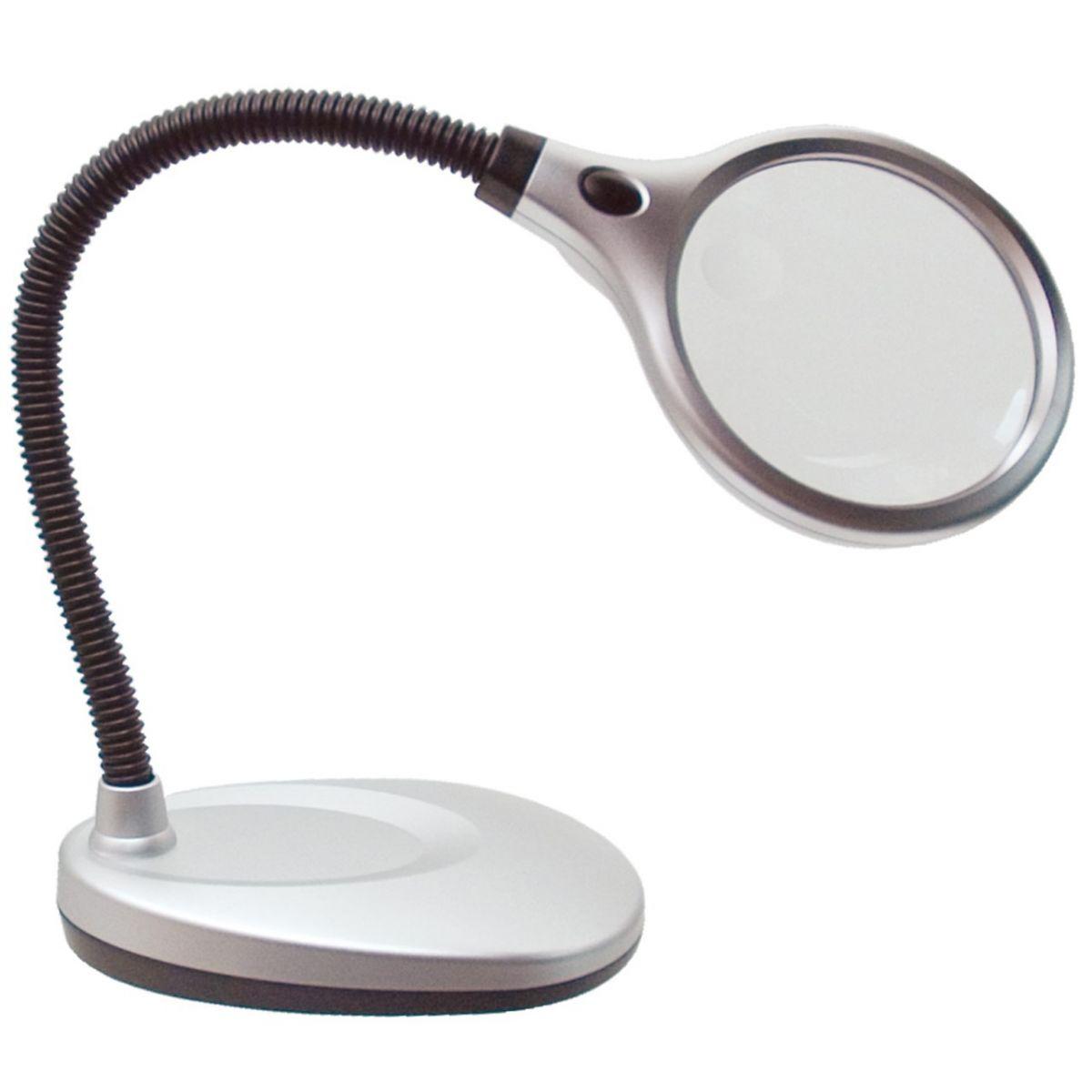 Lupa de Mesa 2X com Haste Flexivel e Iluminação LED