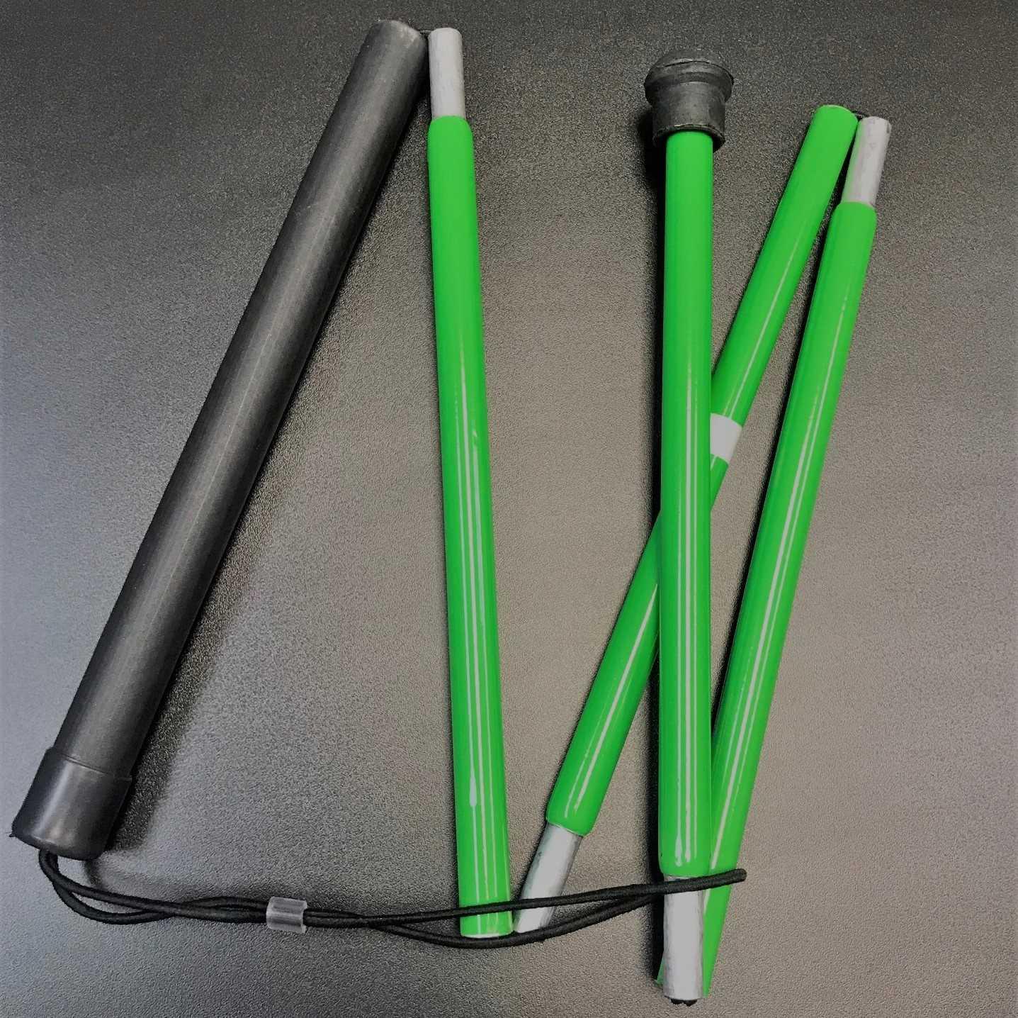 Bengala Verde para Baixa Visão Dobrável em 5 partes - 0,90m