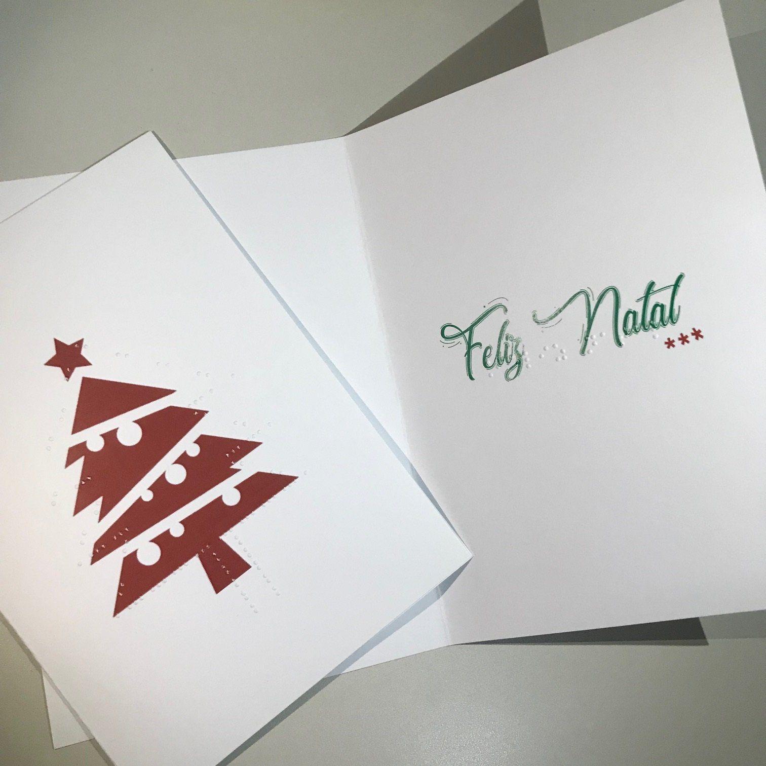 Cartão de Natal e Ano Novo em Braille Conjunto com 2 unidades