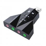 Adaptador de Som USB Externo 7.1 Canais 4 Portas Exbom USOM-20 / Placa de Som USB